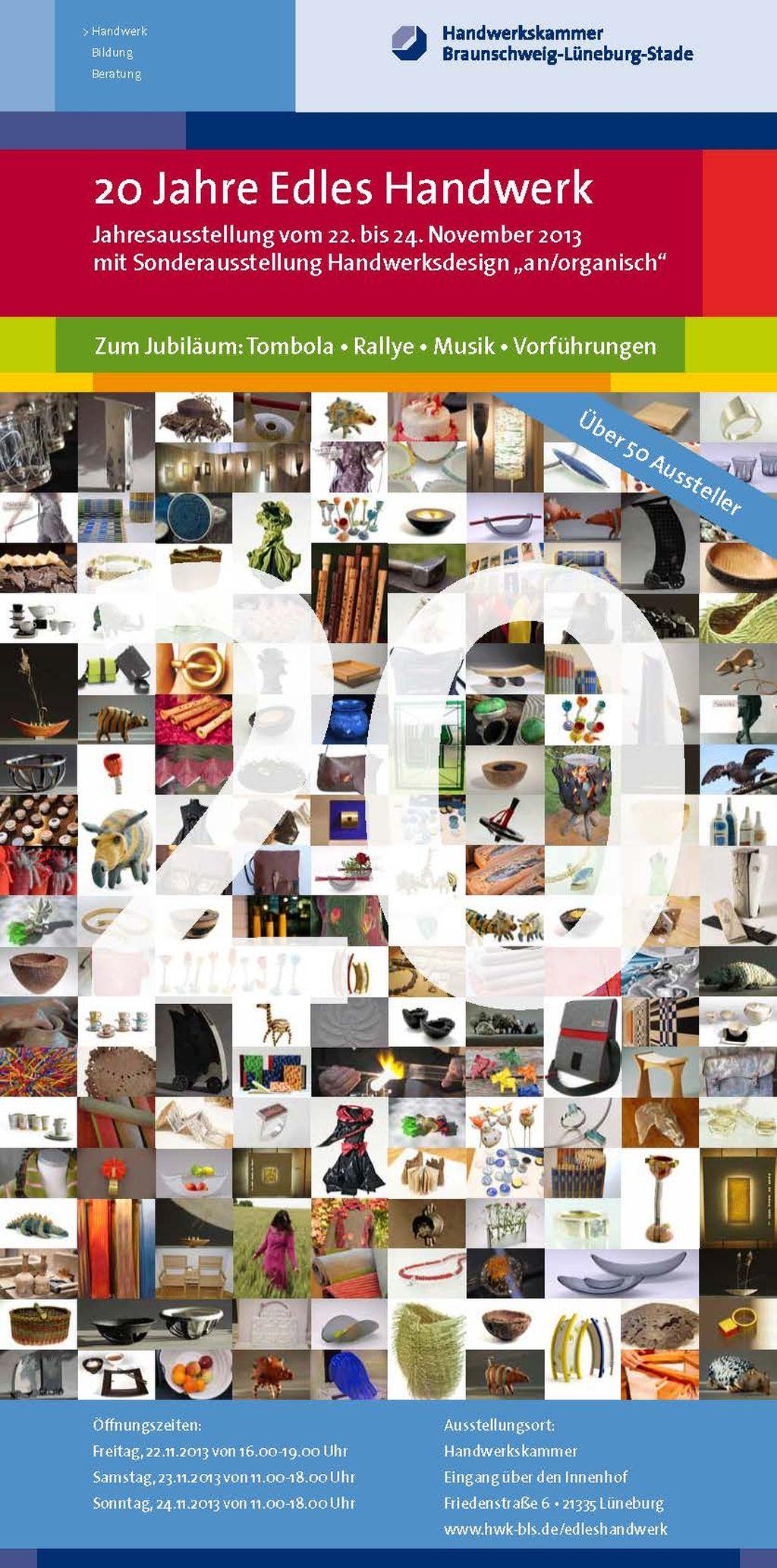Sonderausstellung 2013 an/organisch - Flyer Edles Handwerk Front