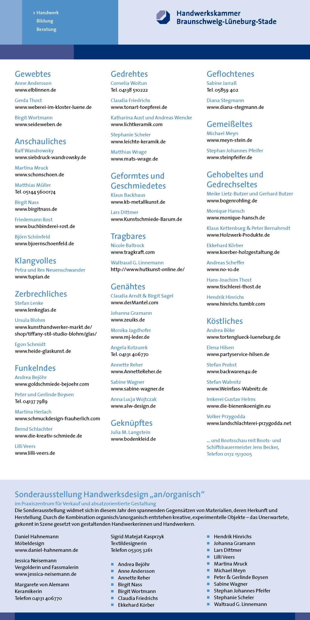 Sonderausstellung 2013 an/organisch - Flyer Edles Handwerk mit Ausstellern