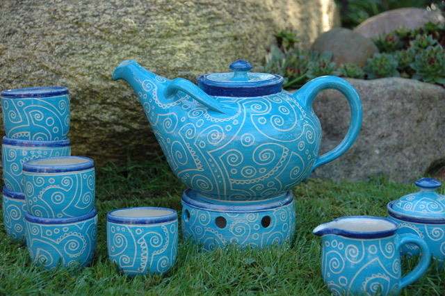 blaues Teeservice von Claudia Friedrichs